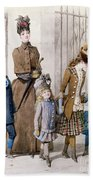 Mother And Children In Walking Dress  Bath Towel