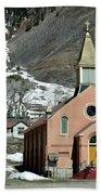 Mountain Chapel With Red Steps Bath Towel by Lorraine Devon Wilke