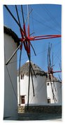 Mykonos Windmills Bath Towel