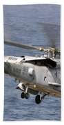 N Hh-60h Sea Hawk Helicopter In Flight Bath Towel