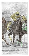 Neck And Neck - Horse Race Print Color Tinted Hand Towel