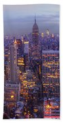 New York Skyline Panorama Hand Towel