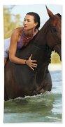 Ocean Horseback Rider Bath Towel