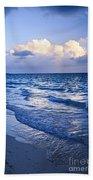 Ocean Waves On Beach At Dusk Bath Towel
