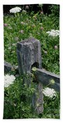 Old Fence And Wildflowers Bath Towel