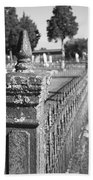 Old Graveyard Fence In Black And White Bath Towel