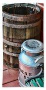 Old Milk Cans And Rain Barrel. Bath Towel