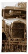 Old Rustic Ford-sepia Bath Towel