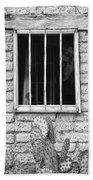 Old Western Jailhouse Window In Black And White Bath Towel