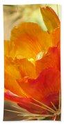Orange Cactus Flower Bath Towel