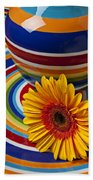 Orange Daisy With Plate And Vase Bath Towel