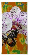 Orchids With Speckled Butterfly Bath Towel