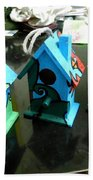 Painted Birdhouses Bath Towel