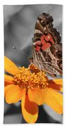 Painted Lady Butterfly On Zinnia Bath Towel