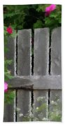 Painterly Fence And Roses Bath Towel