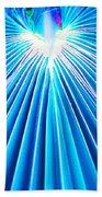 Palm Frond In Blue Bath Towel