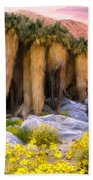 Palm Oasis And Wildflowers Hand Towel