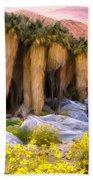 Palm Oasis And Wildflowers Bath Towel