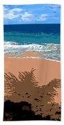 Palm Shadow On The Beach Bath Towel