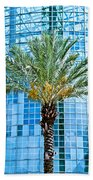 Palme Tree And Blue Building Bath Towel