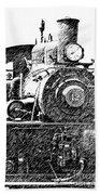 Pencil Sketch Locomotive Bath Towel