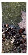 Photo Watercolour Leaf Against Rock Bath Towel
