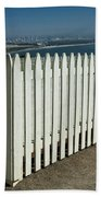 Picket Fence By The Cabrillo National Monument Lighthouse In San Diego Bath Towel