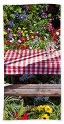 Picnic Table Among The Flowers Bath Towel