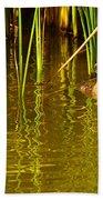 Pied-billed Grebe Near The Reeds Bath Towel