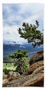 Pine Tree And Mountains Bath Towel