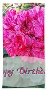 Pink Geranium Greeting Card Birthday Bath Towel