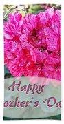 Pink Geranium Greeting Card Mothers Day Bath Towel