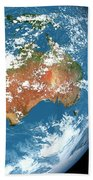 Planet Earth Showing Clouds Bath Towel