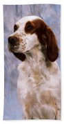 Portrait Of Irish Red And White Setter Bath Towel