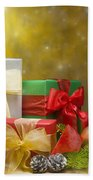 Presents Decorated With Christmas Decoration Bath Towel