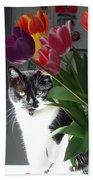 Princess The Cat And Tulips Bath Towel
