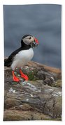 Puffin With Sand Eels Bath Towel