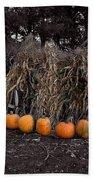 Pumpkins And Cornstalks Bath Towel