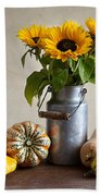 Pumpkins And Sunflowers Bath Towel