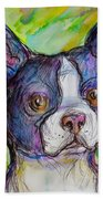 Purple Boston Terrier Hand Towel