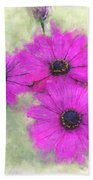 Purple Daisy Trio Watercolor Photoart Bath Towel