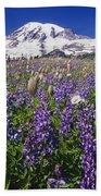Purple Flowers Blooming Beneath Mount Bath Towel