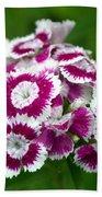 Purple On White Flowers Bath Towel