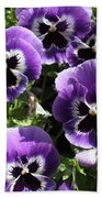 Purple Pansies Square Bath Towel