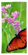 Queen Butterfly And Pink Flowers Hand Towel