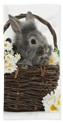Rabbit In A Basket With Flowers Bath Towel