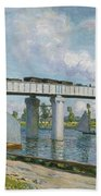 Railway Bridge At Argenteuil Bath Towel