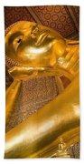 Reclining Buddha At Wat Pho, Low Angle Bath Towel