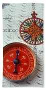 Red Compass And Rose Compass Bath Towel