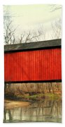 Red Covered Bridge Bath Towel